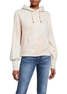 LoveShackFancy Linette Tie-Dye Blouson-Sleeve Hoodie Sweatshirt