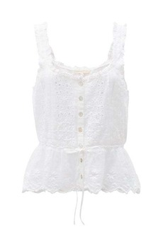 LoveShackFancy Luanne drawstring broderie-anglaise cotton blouse