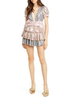 LoveShackFancy Lucinda Metallic Gingham Silk Blend Minidress