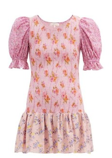 LoveShackFancy Luppa shirred floral-print mini dress