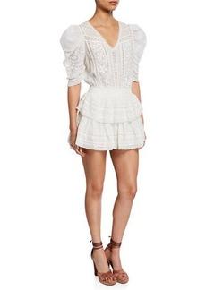 Loveshackfancy Marissa Embroidered Cotton Short Dress