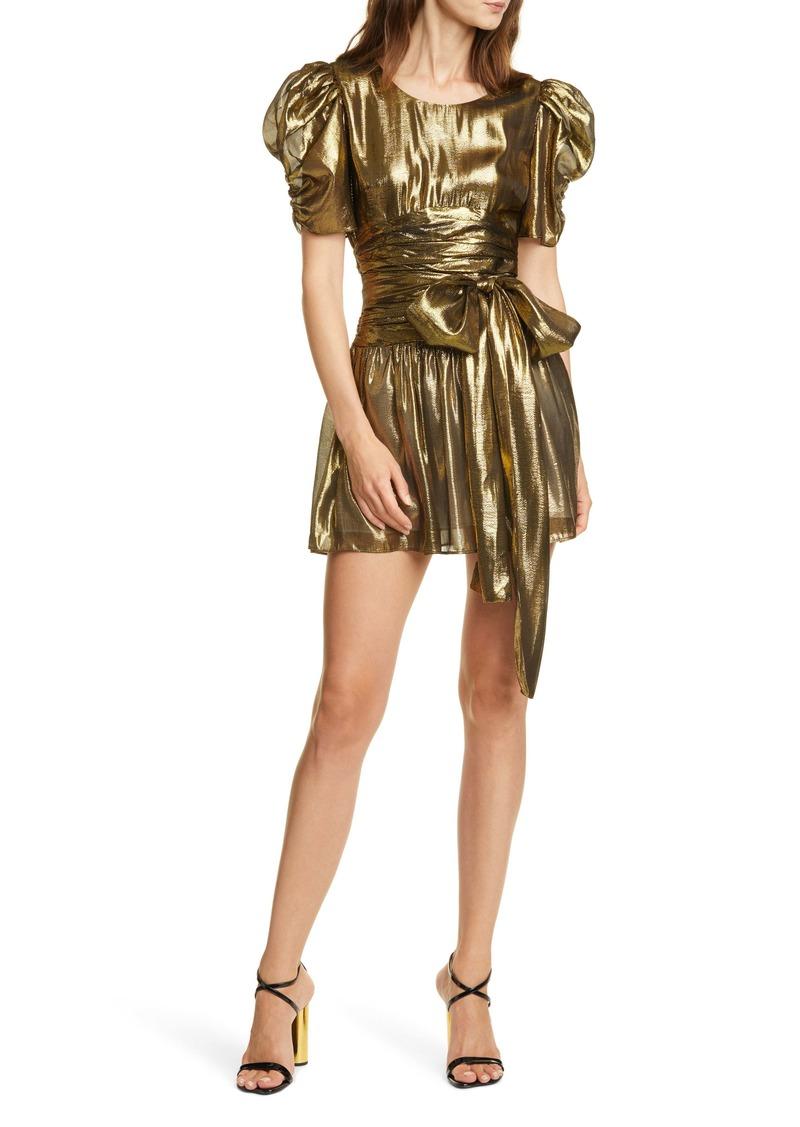 LoveShackFancy Mercy Metallic Silk Puff Sleeve Minidress