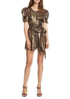 LoveShackFancy Metallic Floral Silk Blend Minidress