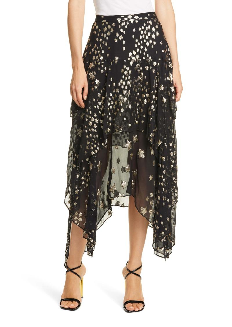 LoveShackFancy Metallic Star Print Silk Blend Skirt