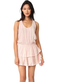 LOVESHACKFANCY Metallic Stripe Ruffle Racer Mini Dress