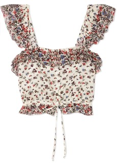 LoveShackFancy Mia Cropped Ruffled Floral-print Cotton Top