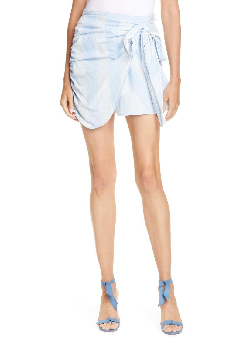 LoveShackFancy Monroe Side Tie Miniskirt