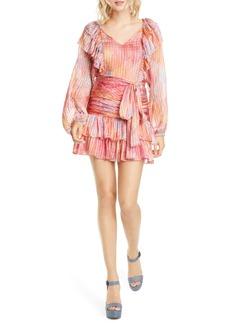 LoveShackFancy Moxie Tiered Ruffle Long Sleeve Silk Minidress