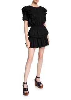 LoveShackFancy Natasha Ruffle Lace-Trim Mini Dress