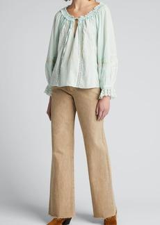 LoveShackFancy Odina Tie-Front Cotton Top
