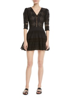 LoveShackFancy Paige V-Neck 3/4-Sleeves Broderie Anglaise Cotton Mini Dress