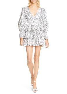 LoveShackFancy Paris Long Sleeve Tiered Ruffle Minidress