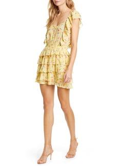 LoveShackFancy Phyllis Floral Ruffle Cotton Minidress