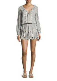 Loveshackfancy Popover Embroidered Ruffled Mini Dress