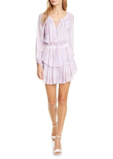 LoveShackFancy Popover Floral Long Sleeve Silk Minidress