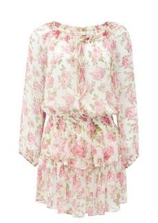 LoveShackFancy Popover floral-print silk-gauze mini dress