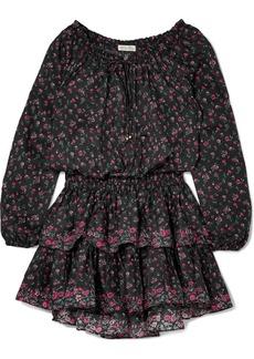 LoveShackFancy Popover ruffled floral-print cotton mini dress
