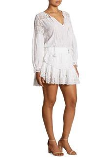 LOVESHACKFANCY Prairie Popover Cotton Lace Dress