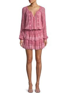LoveShackFancy Printed Ruffle-Skirt Popover Dress