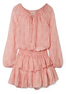 LoveShackFancy Printed silk-georgette mini dress