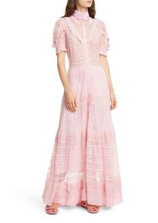 LoveShackFancy Priya Lace & Swiss Dot Maxi Dress