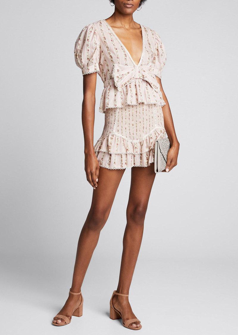 LoveShackFancy Raina Floral-Print Smocked Mini Skirt