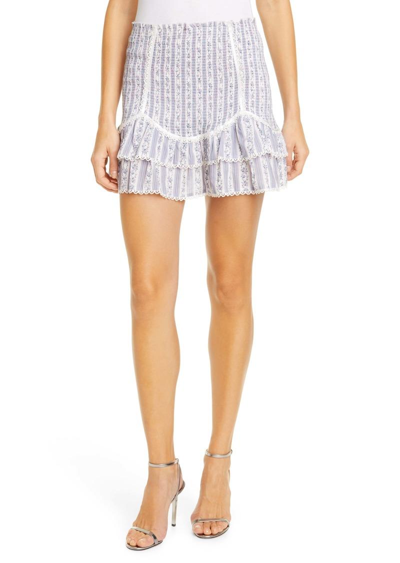 LoveShackFancy Raina Floral Smocked Ruffle Cotton Miniskirt
