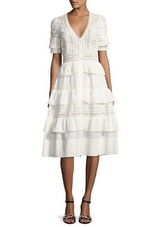 Loveshackfancy Rebecca Embroidered Cotton Midi Dress