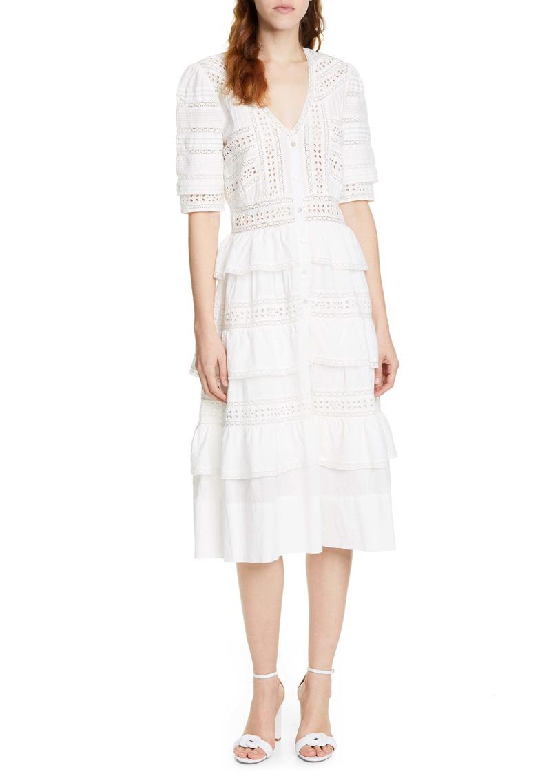 LoveShackFancy Rebecca Tiered Cotton Eyelet Midi Dress