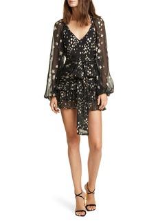 LoveShackFancy Rina Metallic Star Long Sleeve Silk Chiffon Minidress