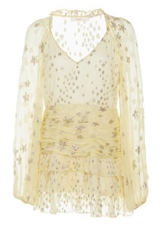 LoveShackFancy Rina Sunflower Embellished Silk-Blend Mini Dress