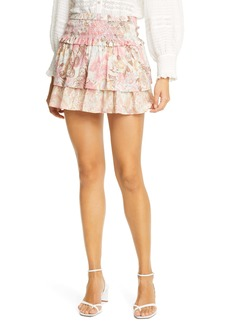 LoveShackFancy Romita Floral Print Miniskirt
