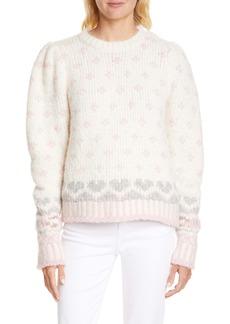 LoveShackFancy Rosie Intarsia Knit Pullover Sweater