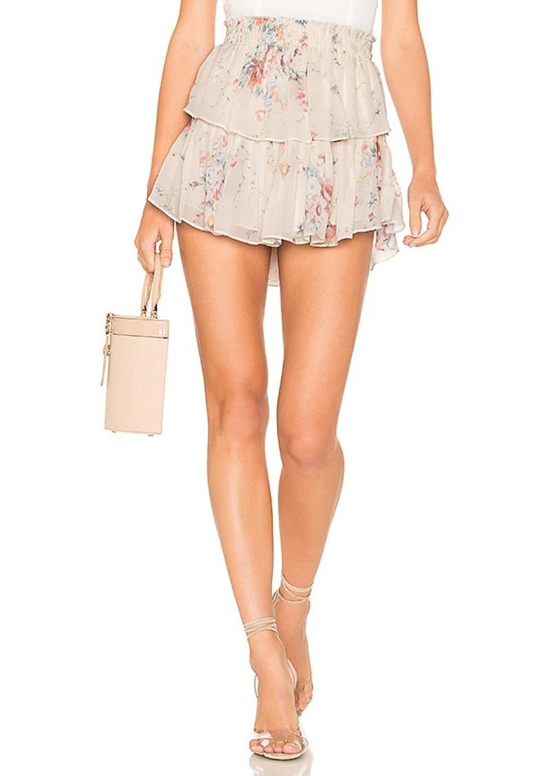LoveShackFancy Ruffle Silk Mini Skirt