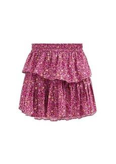 LoveShackFancy Ruffled floral-print cotton-voile mini skirt
