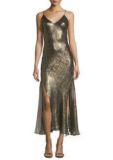 Loveshackfancy Ruffled V-Neck Sleeveless Metallic Slip Dress