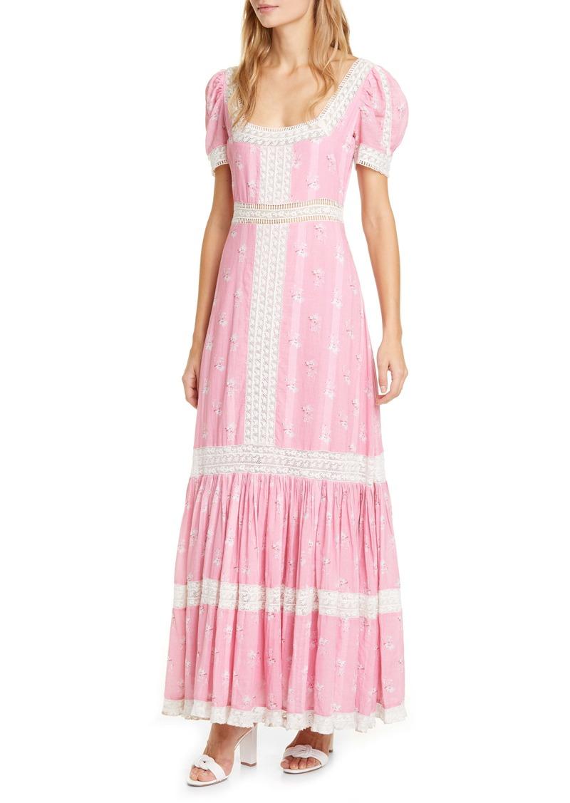 LoveShackFancy Ryan Lace Inset Ruffle Maxi Dress