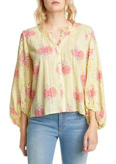 LoveShackFancy Spectra Floral Blouson Sleeve Cotton Top