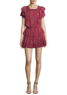 Loveshackfancy Stella Short-Sleeve Ruffled Lace Dress