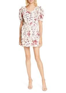 LoveShackFancy Sutton Asymmetrical Tiered Ruffle Minidress