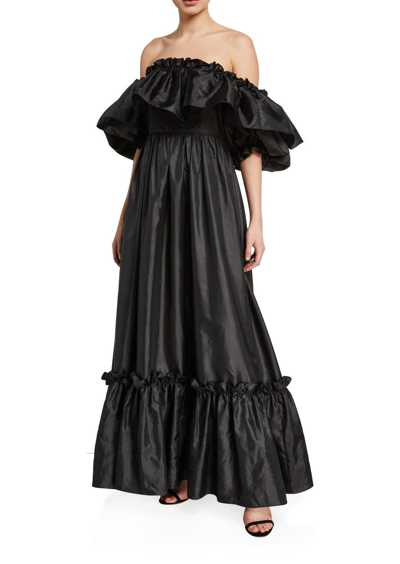 LoveShackFancy Tara Off-the-Shoulder Ruffle-Trim Taffeta Dress