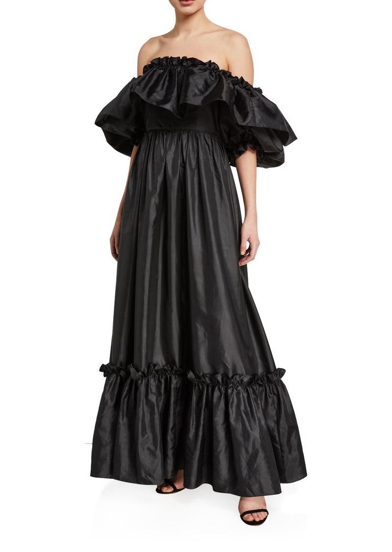 LoveShackFancy Tara Off-the-Shoulder Ruffle-Trim Taffeta Dress