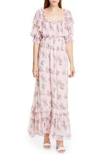 LoveShackFancy Tara Silk Maxi Dress