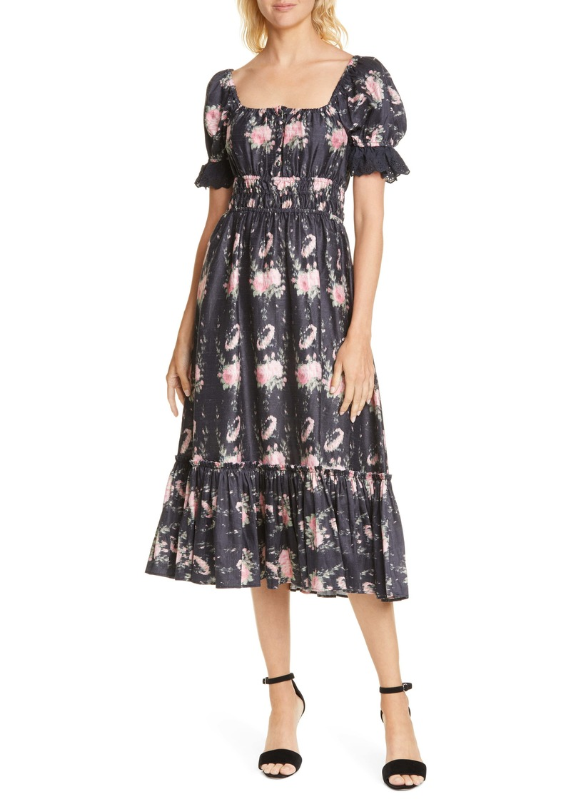 LoveShackFancy Terrence Silk Midi Dress