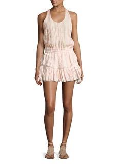 Loveshackfancy Textured Ruffle Racerback Mini Dress