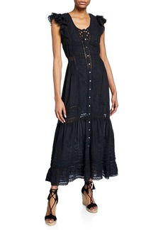 Loveshackfancy Valentina Embroidered Short-Sleeve Ruffle Dress