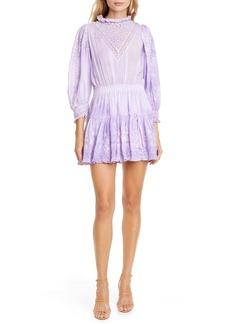 LoveShackFancy Viola Lace Inset Cotton Minidress
