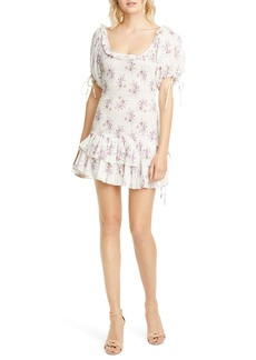 LoveShackFancy Violet Floral Smocked Cotton Dress