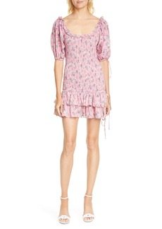 LoveShackFancy Violet Smocked Minidress