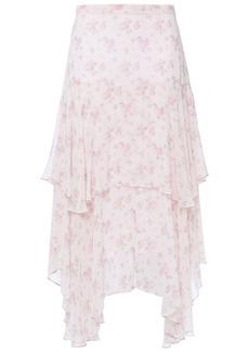 Loveshackfancy Woman Alex Asymmetric Tiered Floral-print Silk-georgette Midi Skirt Pastel Pink